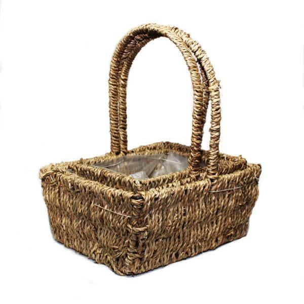 Rectangle Sea Grass Basket Trio 1