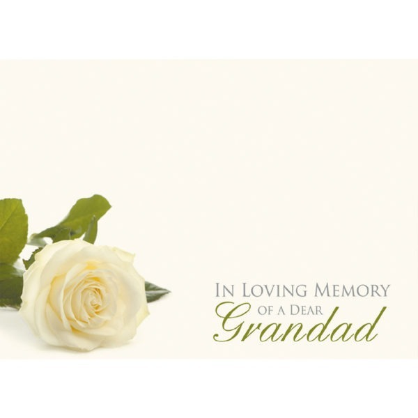 Large Cards - In Loving Memory Of A Dear Grandad - White Rose 1