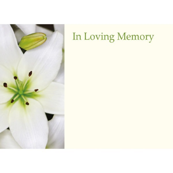 Large Cards - In Loving Memory - White Lily 1
