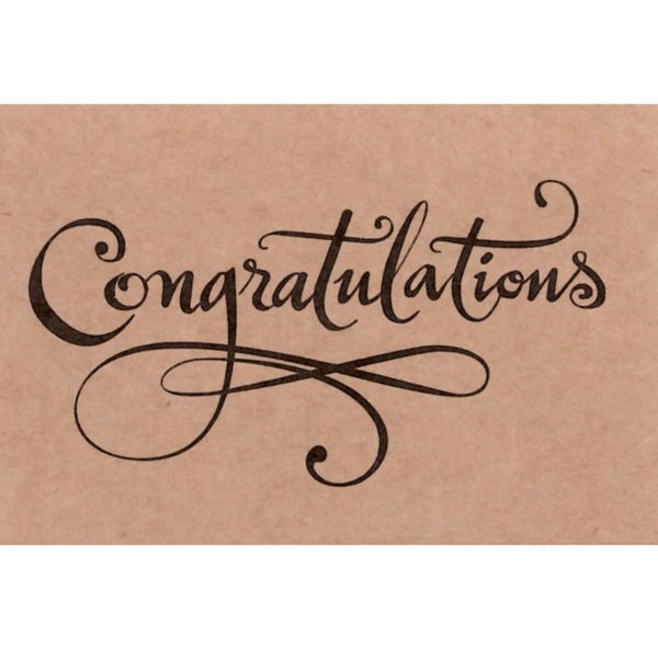 Small Cards - Congratulations - Script On Natural Card 1