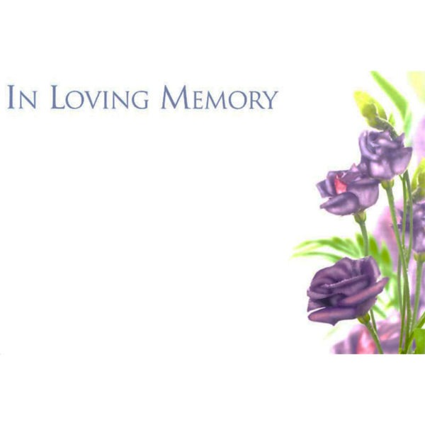 Small Cards - In Loving Memory - Purple Flowers 1