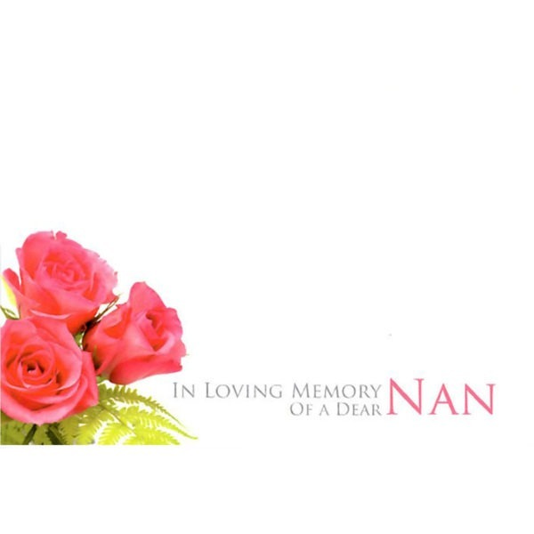 Small Cards - In Loving Memory Of A Dear Nan - Pink Roses 1