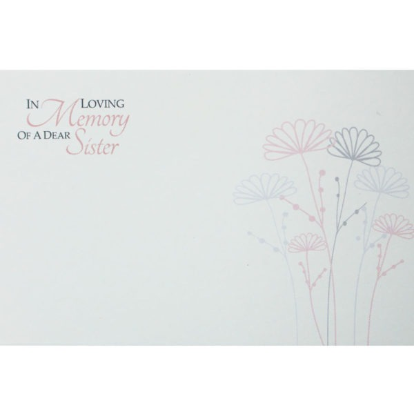 Small Cards - In Loving Memory Of A Dear Sister - Pink & Mauve Flowers 1
