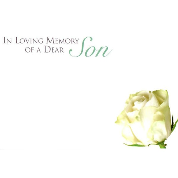 Small Cards - In Loving Memory Of A Dear Son - Single Rose 1