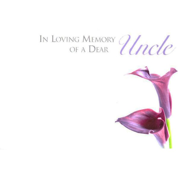 Small Cards - In Loving Memory Of A Dear Dad - Purple Calla Lily 1