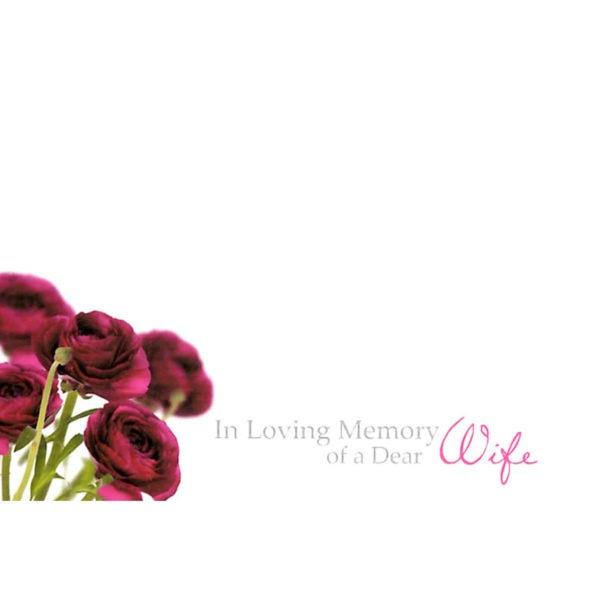 Small Cards - In Loving Memory Of A Dear Wife 1