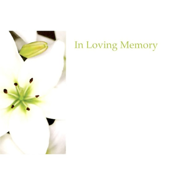 Small Cards - In Loving Memory - White Lily 1