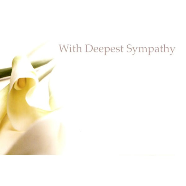 Small Cards - With Deepest Sympathy - Calla Lily 1