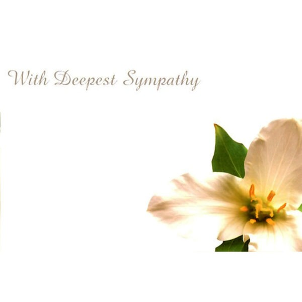 Small Cards - With Deepest Sympathy - White Lily 1