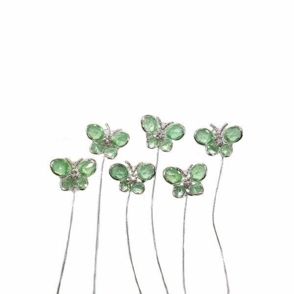 Small Butterfly Pick - Green/Silver 1