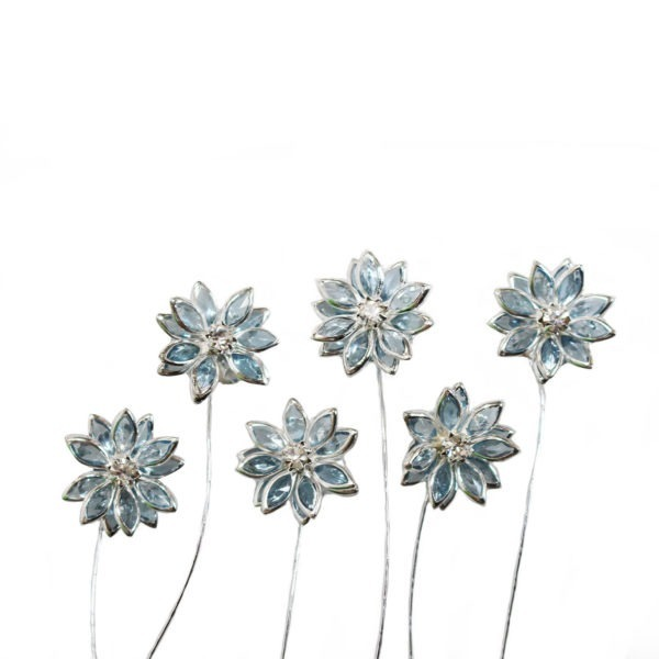 Small Pointed Flower - Blue/Silver 1