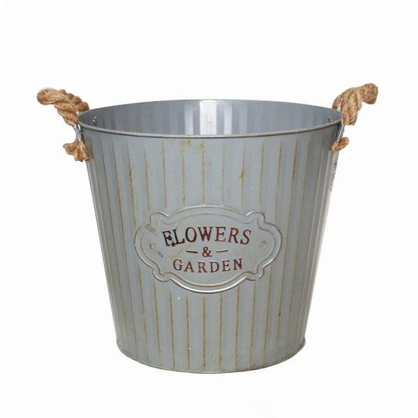 Rustic Metal Bucket - Flowers and Garden 1