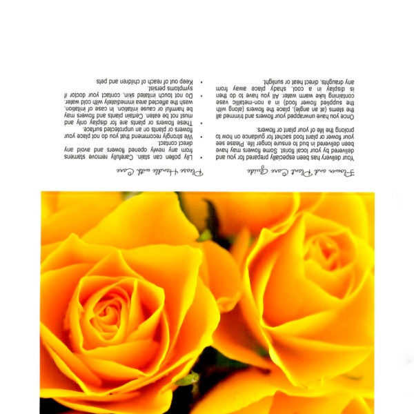 Folding Flower and Plant Care Card - Golden Roses 1