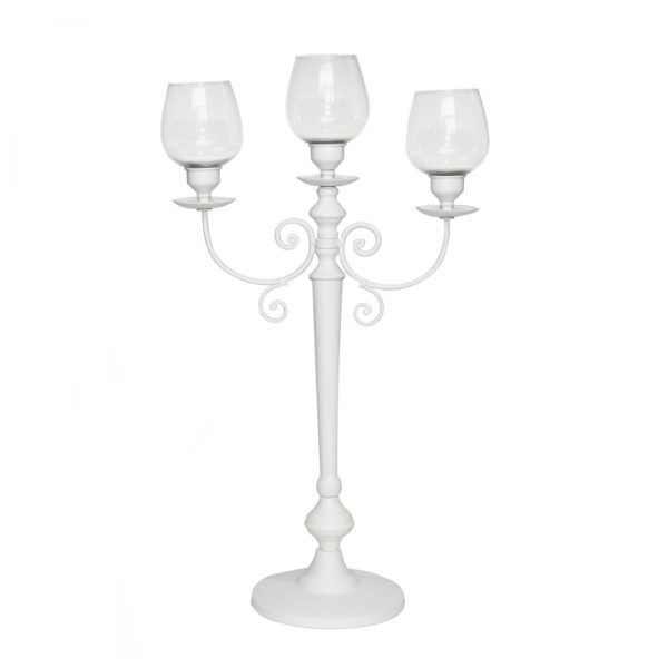 3 Arm Candelabra - Matt White 1