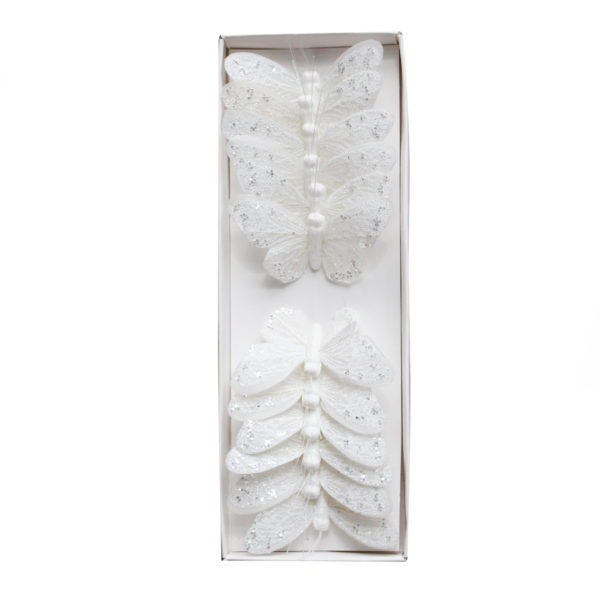 Butterflies on a Wire - Glittery White 1