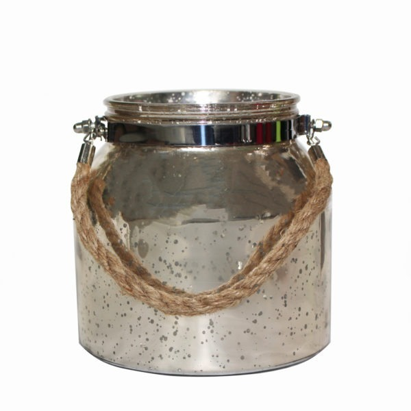 Speckled Glass Jar - White Gold 1