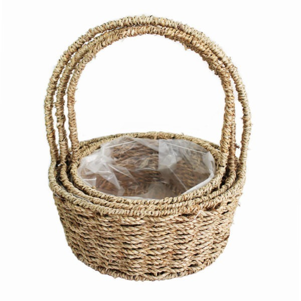 Round Sea Grass Basket Trio 1