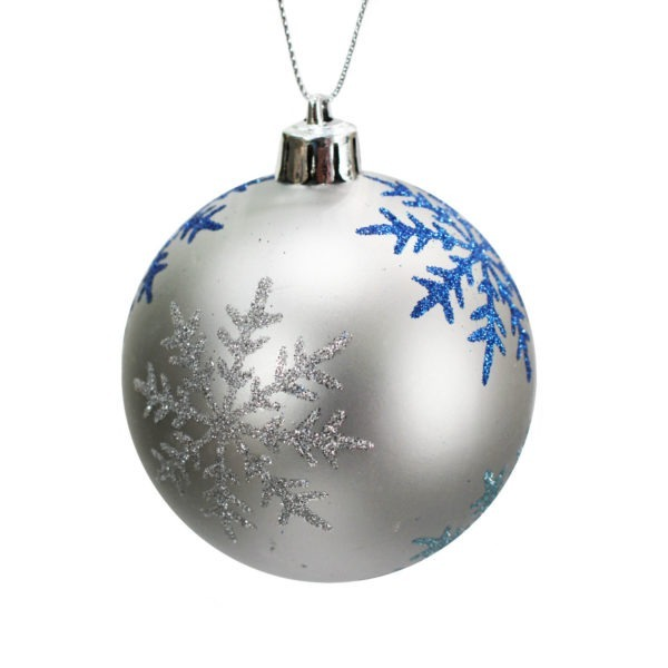 Silver and Blue Snowflake Bauble 1