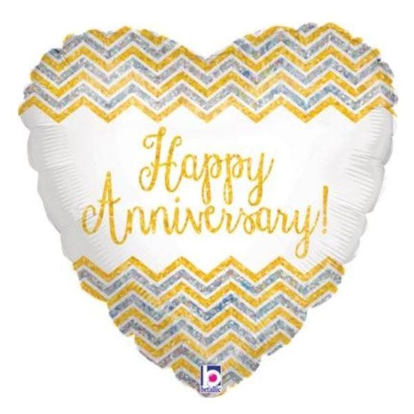 Chevron Happy Anniversary Foil Balloon 1